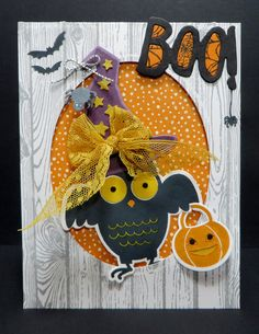 Stampin' Up Boo To You Owl card using the new SU Howl-o-ween stamp set, new Boo To You Framelits Dies, SU Hardwood Stamp Set, new Witches Night Stamp Set and Sweet Li'l Things Designer Series Paper.  Go to http://lynnslocker.blogspot.com/ to see how I created this card.