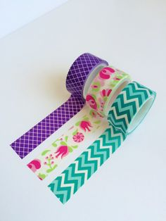 #washitape Etsy listing at https://www.etsy.com/listing/235902819/set-of-3-washi-tapes-purple-flowers