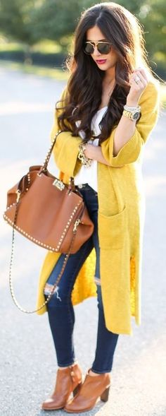 Yellow Cardigan + White Blouse + Jeans                                                                             Source