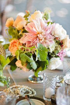 Flowers peach Wedding Inspiration - Style Me Pretty