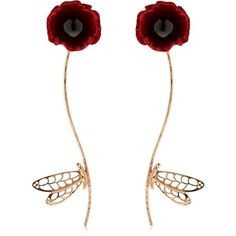 Futuro Remoto Gioielli Women Dragonfly Earrings (€460) ❤ liked on Polyvore featuring jewelry, earrings, orecchini, rose gold, hand crafted jewelry, dragonfly earrings, handcrafted jewellery, lightweight earrings and earring jewelry
