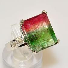 Solid White Gold Watermelon Tourmaline Ring (Size - 1 genuine watermelon tourmaline x 13 x and 12 genuine diamond (Weight: Color: G, Clarity: Gems Jewelry, High Jewelry, Gemstone Jewelry, Jewelry Box, Jewelry Accessories, Jewellery, Watermelon Tourmaline, Green Tourmaline, Tourmaline Jewelry