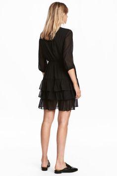 Szyfonowa sukienka - Czarny - ONA | H&M PL