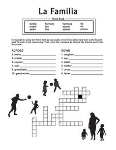 La Familia Spanish Family Crossword Puzzle worksheet offers practice for… Study Spanish, Spanish Lesson Plans, Spanish Lessons, How To Speak Spanish, Learn Spanish, Spanish 1, Spanish Worksheets, Spanish Teaching Resources, Spanish Vocabulary