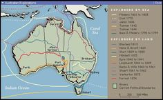 Map of Australian Explorers. Explorer Map, Darwin, Brisbane, Geography, Lesson Plans, Homeschool, Australia, How To Plan, History