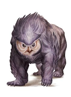 Dungeons and Dragons (D&D) Fifth Edition Monster - Owlbear - An owlbear's screech echoes through dark valleys and benighted forests, piercing the q. High Fantasy, Fantasy Rpg, Dungeons And Dragons, Fantasy Monster, Monster Art, Creature Feature, Creature Design, Dnd Characters, Fantasy Characters