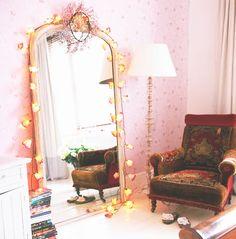 pink lights bohemian decor
