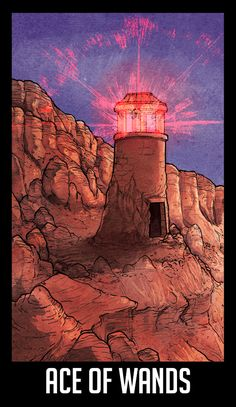 """WTNV Tarot ACE OF WANDS - THE LIGHTHOUSE """"New beginnings, new thinking, new opportunities. New friends and co-workers. The excitement of starting new projects or new jobs. As the Aces represent beginnings, and the Wands represent inspiration and..."""