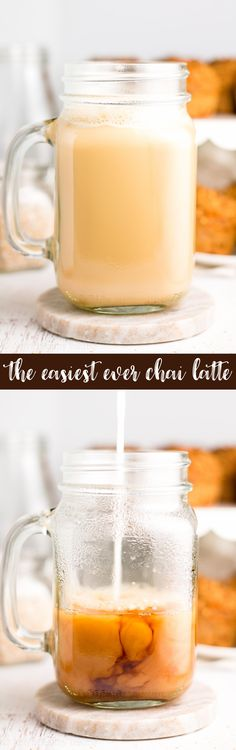 Super Easy Chai Latte! Only 2 ingredients & 30 calories! I make this every morning -- SO good! It's smooth, creamy & WAY better than a coffee shop's! (And much cheaper too!) ad @LoveMySilk #progressisperfection ♡ vegan chai latte | homemade almond milk chai latte | healthy chai latte