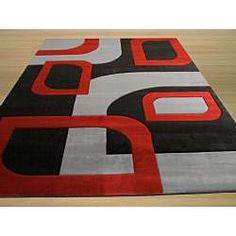 @Overstock.com - Give your home or office an update with this contemporary black, grey and red polypropylene rug. This rug can really tie your room together.   http://www.overstock.com/Home-Garden/Monte-Carlo-Black-Grey-Rug-53-x-77/6608827/product.html?CID=214117 $151.19