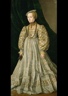 Datering: ca. 1545 Titel: Archduchess Anna, Daughter of Ferdinand I Maler: Jakob Seisenegger Sted: Austria, Kunsthistorisches Museum Mode Renaissance, Renaissance Fashion, Renaissance Clothing, 16th Century Clothing, 16th Century Fashion, 17th Century, Historical Costume, Historical Clothing, 1500s Fashion