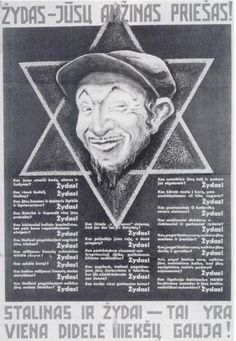 A Nazi propaganda poster from 1941 in Lithuanian language, equating Stalinism and Jews.
