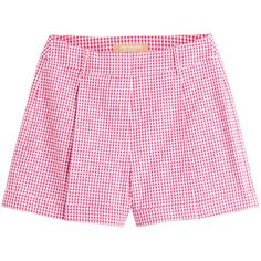 Michael Kors Gingham Shorts (225 CAD) ❤ liked on Polyvore featuring shorts, pants, pink, women, flat front shorts, gingham shorts, cuffed shorts, michael kors and pocket shorts