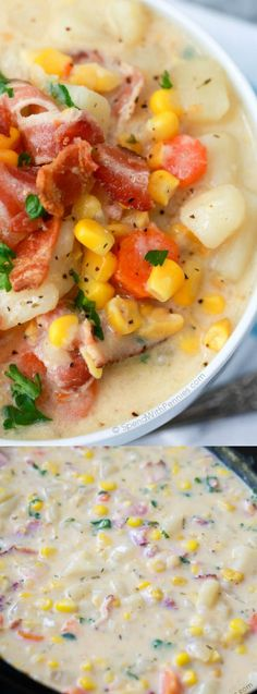This Slow Cooker Bacon Corn Chowder from Holly at Spend with Pennies simmers on low in the crock pot and is ready to serve for dinner when your family is hungry and wanting a hot comforting meal. It is loaded with fresh vegetables and tender chunks of potato.