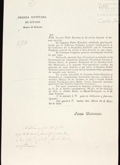 Circular Impresa donde se hace saber que el 10 de Octubre de 1824 tomaron posesión como Presidente y Vice-Presidente de la República los Generales Guadalupe Victoria y Nicolás Bravo, respectivamente.