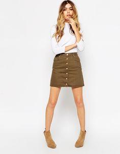 ASOS Denim Dolly Aline Button Through Mini Skirt In Sage Green