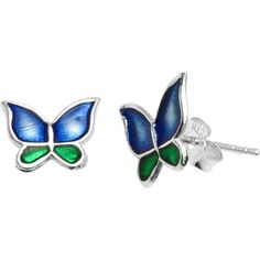 Itsy Bitsy Sterling Silver Butterfly Stud Earrings (Blue &... ($30) ❤ liked on Polyvore featuring jewelry, earrings, stud earring set, silver jewelry, womens jewellery, sterling silver butterfly earrings and pandora jewelry