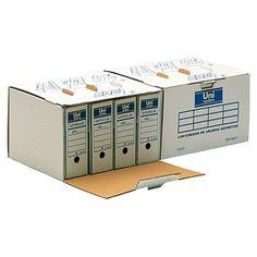 CONTENEDOR (25 UDS) PARA 4 CAJAS ARCHIVO DEFINITIVO. Contenedor para cuatro cajas de archivo definitivo tamaño folio. Apilables y ensamblables en cartón ondulado y con un sencillo montaje. No se incluyen los cuatro archivos definitivos.25 UDS.-