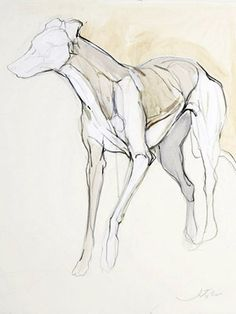 The Rescue I, by Jo Taylor-- Contour lines and light washes of color. Inspiration for equestrian painting