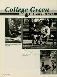 Athena Yearbook, 1993. Students don't just go through the College Green to get from class to class. Some students stroll with their dogs, eat lunch with their friends or read under trees. :: Ohio University Archives