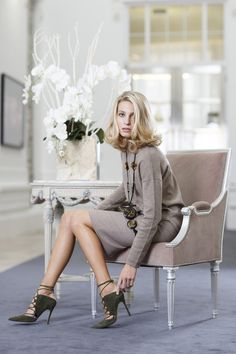 Elegant EMMAJANE KNIGHT 100% woven, taupe, cashmere straight skirt and sweatshirt modelled @gracebelgravia atrium