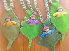 acorn babies in leaf pouches