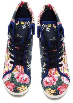 Navy Floral Sneakers