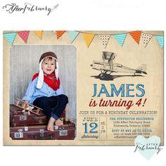 Airplane Birthday Invitation Pilot Birthday by AfterFebruary First Birthday Parties, Birthday Celebration, Girl Birthday, First Birthdays, Birthday Typography, Photo Birthday Invitations, Around The World In 80 Days, Birthday Photos, Bunting