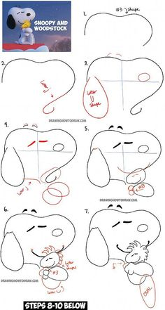 How to Draw Snoopy and Woodstock Hugging from The Peanuts Movie with Easy-to-Follow, Step by Step Drawing Tutorial