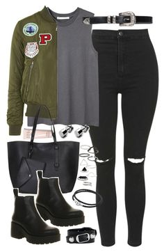 """""""Outfit for uni with a bomber jacket"""" by ferned on Polyvore featuring Topshop, Hope, Bobbi Brown Cosmetics, Vagabond, Balenciaga and Pandora"""
