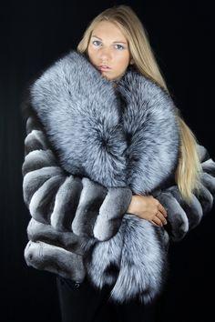 chinchilla , silver fox fur jacket...
