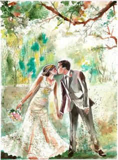 Original Watercolor CUSTOM Wedding Portraits by SimplyArtByKristin, $95.00
