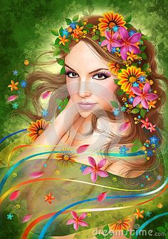 Fantasy Spring Beautiful Fairy Woman With Summer Flowers. Fashion Portrait Stock Illustration - Illustration of fairy, background: 68484975 Flower Graphic, Graphic Art, Summer Flowers, Colorful Flowers, Flowers Nature, Buy Flowers, Green Flowers, Beautiful Fairies, Beautiful Women