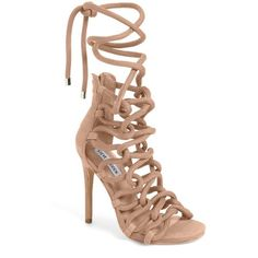 Women's Steve Madden Dancin Rope Cage Sandal (175 CAD) ❤ liked on Polyvore featuring shoes, sandals, blush nubuck leather, high heel stilettos, criss-cross sandals, criss cross shoes, crisscross shoes and open toe sandals