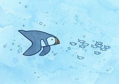 Swimming Puffin and Fish Watercolor Illustration by studiotuesday