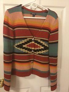 American Living Ralph Lauren Navajo Indian Waterfall Knit Cardigan Sweater M | eBay