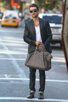 Leather blazers are grown-up rocker star. Nicely done