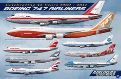 Boeing 747 from Airliners illustrated. More info on the gallery… Commercial Plane, Commercial Aircraft, 747 Jumbo Jet, Plane Photos, Airline Logo, Passenger Aircraft, Civil Aviation, Aviation Art, Aircraft Design