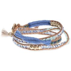 lonna & lilly Gold-Tone Leather Beaded Wrap Bracelet ($28) ❤ liked on Polyvore featuring jewelry, bracelets, blue, leather jewelry, beading jewelry, bead jewellery, boho bangles and bohemian bangles