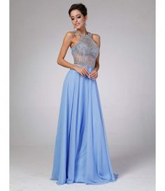 Periwinkle Halter Sheer Bodice Dress 2015 Prom Dresses