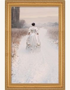"""A WINTER WALK  She takes an invigorating traipse down a familiar old path dusted with fresh snow.  Framed. 18 x 25"""".  Unframed. 14 x 21"""". Victorian Trading Company"""