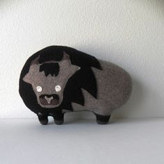 the Bison  Plush Wool Pillow by threebadseeds on Etsy, $60.00