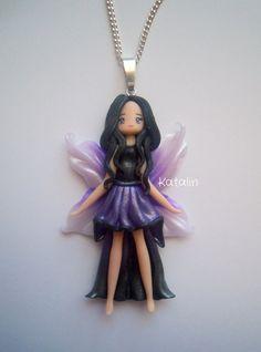 Kawaii chibi fairy doll polymer clay fimo necklace by KatalinHandmade