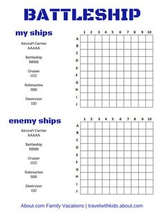 Free Printable Battleship Game | Bye-Bye Boredom! Free Print & Play Car Games