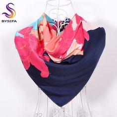 [BYSIFA] Pink Silk Scarf Shawl Muslim Women Head Scarves Spring Autumn Brand Ladies Daylily Leopard Print Square Scarves Wraps
