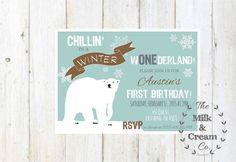 Polar Bear Winter ONEderland Birthday Invite, Girl or Boy Winter Onderland Birthday Invitation, Turquoise, Teal, Winter First Birthday