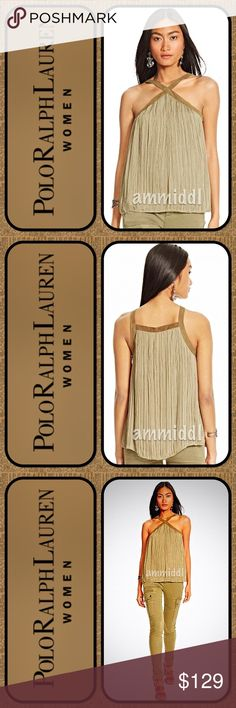 """🆕Polo Ralph Lauren Suede-Trim Chiffon Tank The weather is warming up and you're going to look """"hot"""" in this absolutely gorgeous tank top!  The sumptuous suede trim meets airy crinkled chiffon in this A-line tank. Pair this chic day-to-night style with a tonal pant to spotlight its rich textural appeal.   💚Size 12 💚Color: Olive Green 💚Fully Lined 💚100% Goat Suede Trim 💚Care: Dry clean only Polo by Ralph Lauren Tops Tank Tops"""
