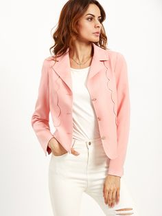 Shop Pink Single Breasted Blazer With Scallop Detail online. SheIn offers Pink…