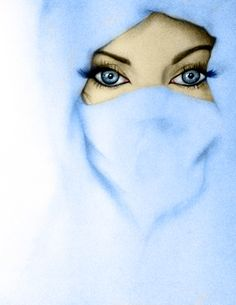 Blue Eyes in Blue Niqab (Drawing)
