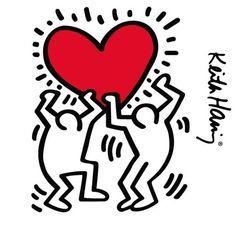 'Keith Haring Dancing Heart' Sticker by robosonic Pop Art Patterns, Pattern Art, Keith Haring Heart, Eiffel Tower Wall Decal, Haring Art, Principles Of Art, Renaissance Art, Heart Art, Counted Cross Stitch Patterns